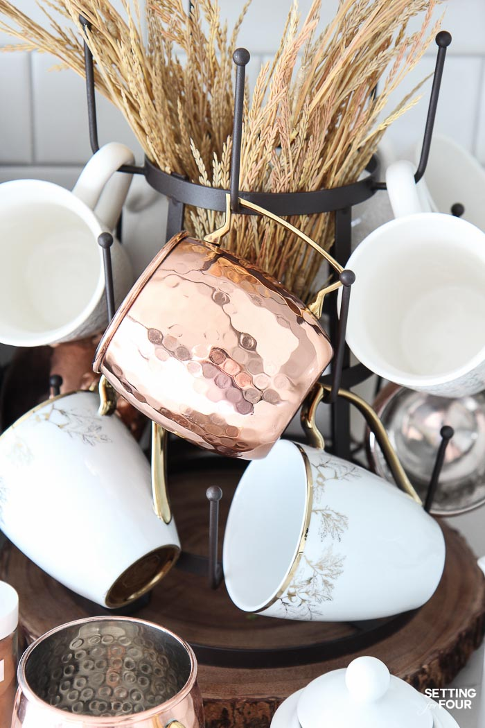 How to decorate a kitchen coffee bar for fall!