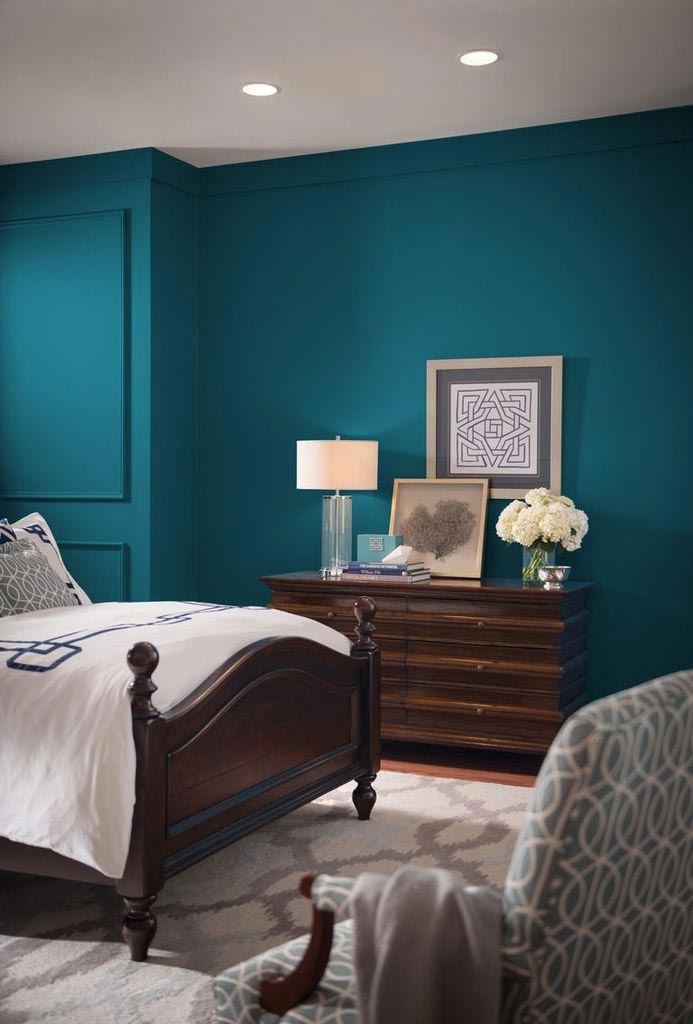 For your home: Looking for a paint color to paint your next room? See why I love Oceanside 6496, a beautiful blue color- Sherwin Williams Color Of The Year 2018 and see how it looks in real rooms like this bedroom!