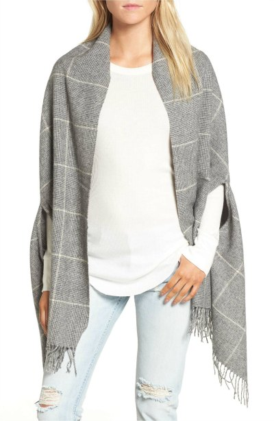 Gray and Cream Cape Scarf - it's a cape and a scarf too!