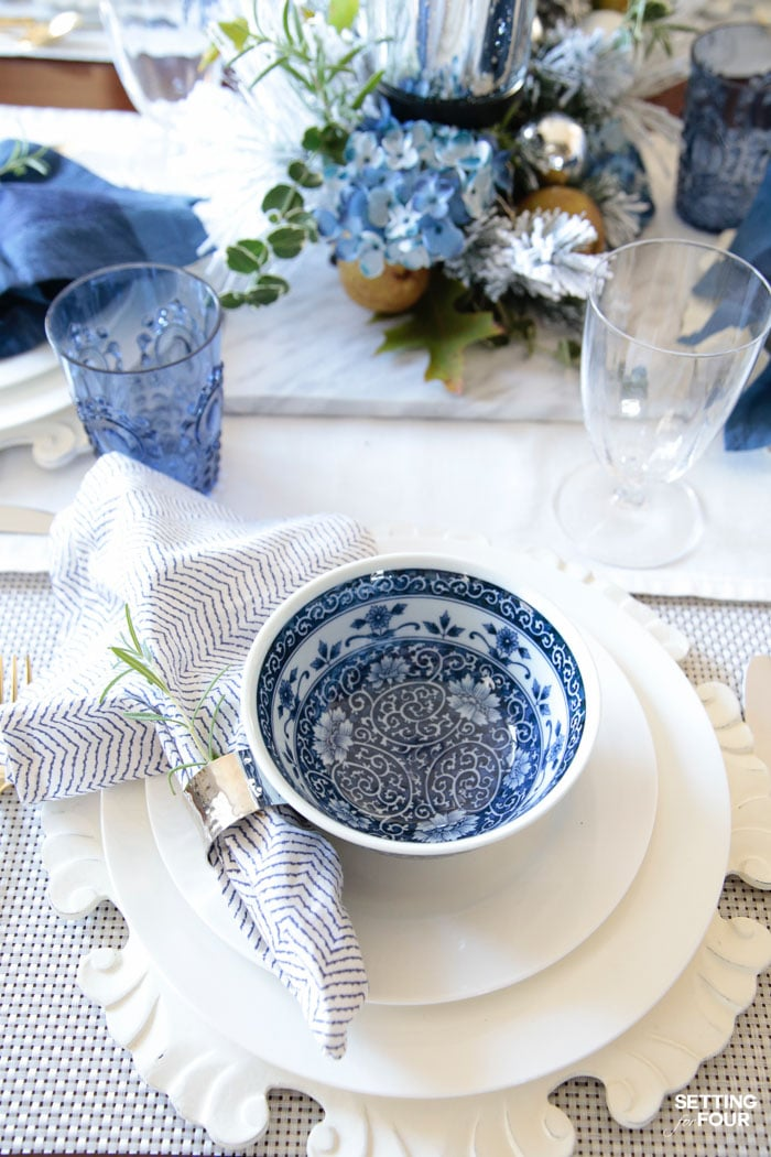 Elegant Fall Table Settings With A Blue And White Palette