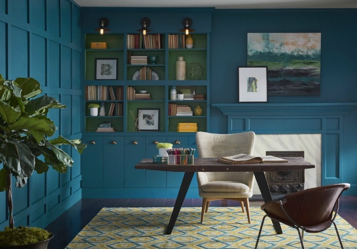 For your home: Looking for a paint color to paint your next room? See why I love Oceanside 6496, a beautiful blue color- Sherwin Williams Color Of The Year 2018 and see how it looks in real rooms like this home office!