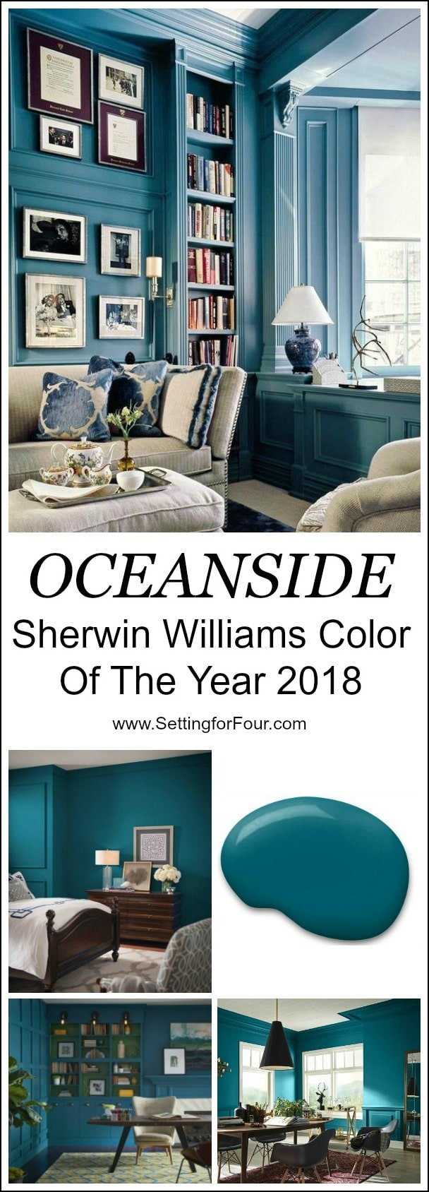 For your home: Looking for a paint color to paint your next room? See why I love Oceanside 6496, a beautiful blue color- Sherwin Williams Color Of The Year 2018 and see how it looks in real rooms!