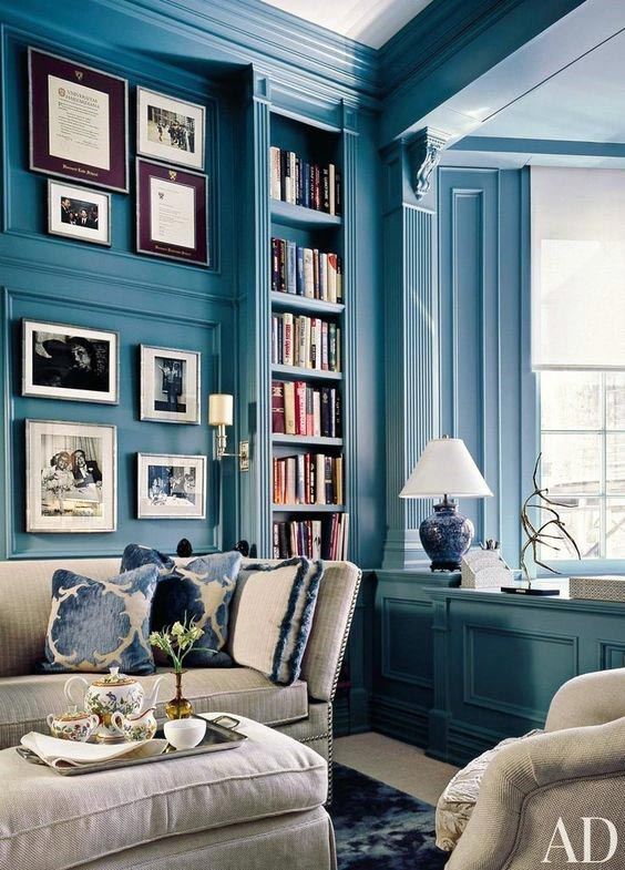 For your home: Looking for a paint color to paint your next room? See why I love Oceanside 6496, a beautiful blue color- Sherwin Williams Color Of The Year 2018 and see how it looks in real rooms like this living room!
