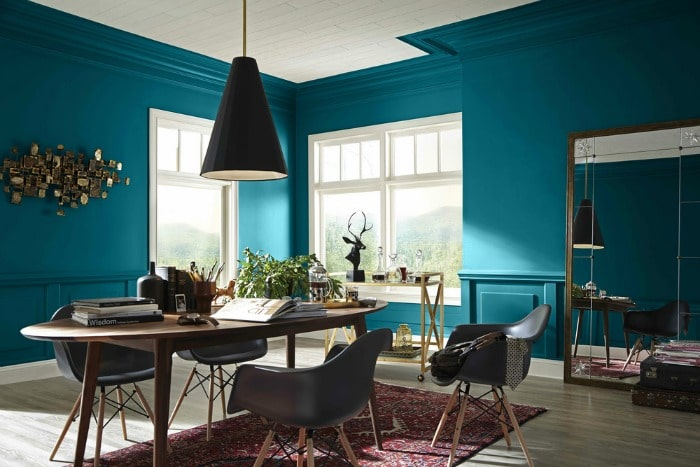 For your home: Looking for a paint color to paint your next room? See why I love Oceanside 6496, a beautiful blue color- Sherwin Williams Color Of The Year 2018 and see how it looks in real rooms like this dining room!