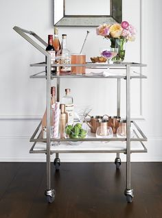 Marble and Silver Bar Cart for home entertaining.