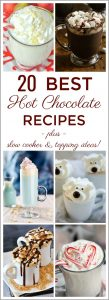 See 20 Best Hot Chocolate Recipes to warm up with when the weather cools! Lots of delicious flavours to try out! Your kids will love these hot cocoa recipes too! Perfect for parties or any time! Includes lots of slow cooker versions to make in big batches.