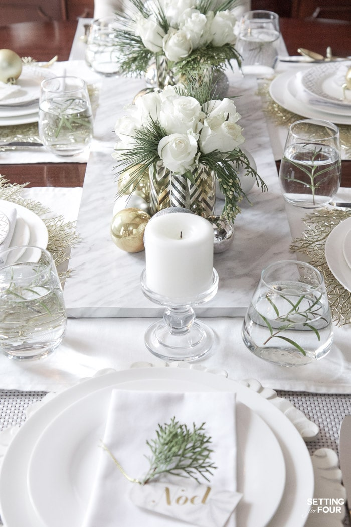Elegant gold and white christmas tablescape setting for four White christmas centerpieces