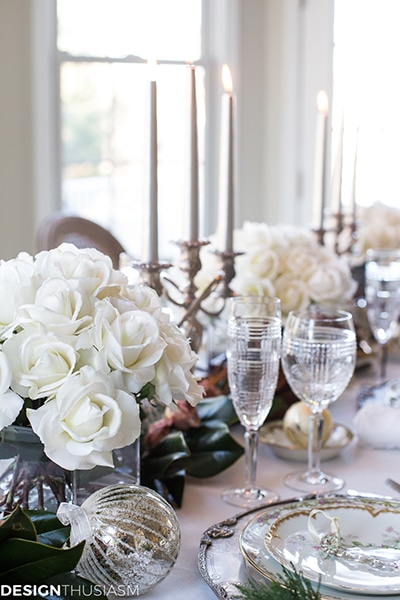 Love this! See how to create this beautiful Christmas Tablescape with White Roses Centerpieces! Easy DIY entertaining idea for the home.