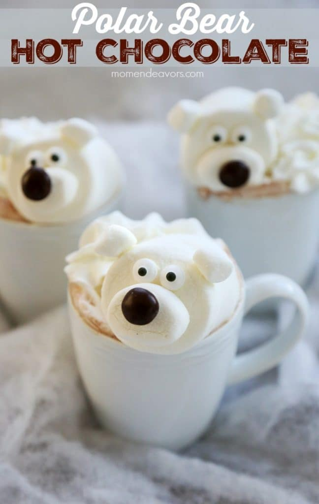 Polar Bear Hot Chocolate Recipe! Fun to make for the kids! Love this hot cocoa topping idea!