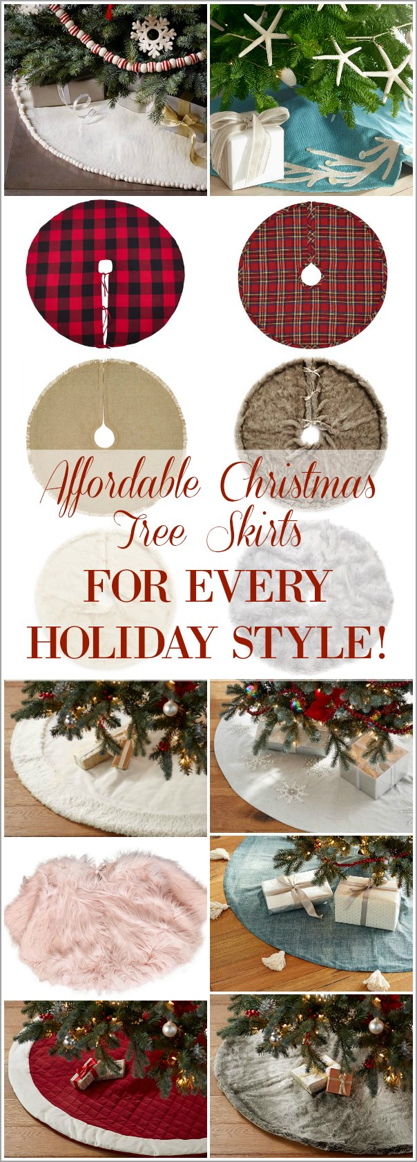 See these affordable and stylish Christmas Tree Skirts to decorate every style of Christmas Tree! Includes farmhouse, plaid, buffalo check, glam, faux fur, coastal, beaded, pompom, tassel, burlap and trendy blush pink styles!
