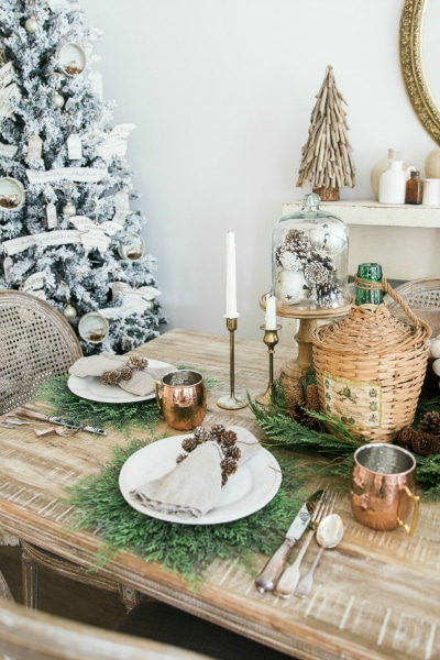 Love this! See how to create this French Farmhouse Christmas Table Decor! Easy DIY entertaining idea for the home.