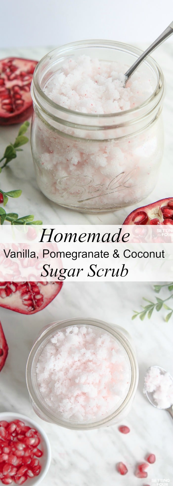This DIY Vanilla, Pomegranate and Coconut Sugar Scrub Recipe is quick to make and smells amazing Great homemade gift idea! Rich, moisturizing coconut oil mixed with exfoliating sugar not only feels fabulous but gets rid of flaky skin in a jiffy! Click to see the ingredients and directions to make this easy DIY sugar scrub!
