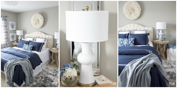 See these beautiful Guest Bedroom Decorating Ideas! How to create a relaxing guest bedroom for your guests including wall art, lighting, bedroom furniture, bedding, wall paint and home decor accent ideas!