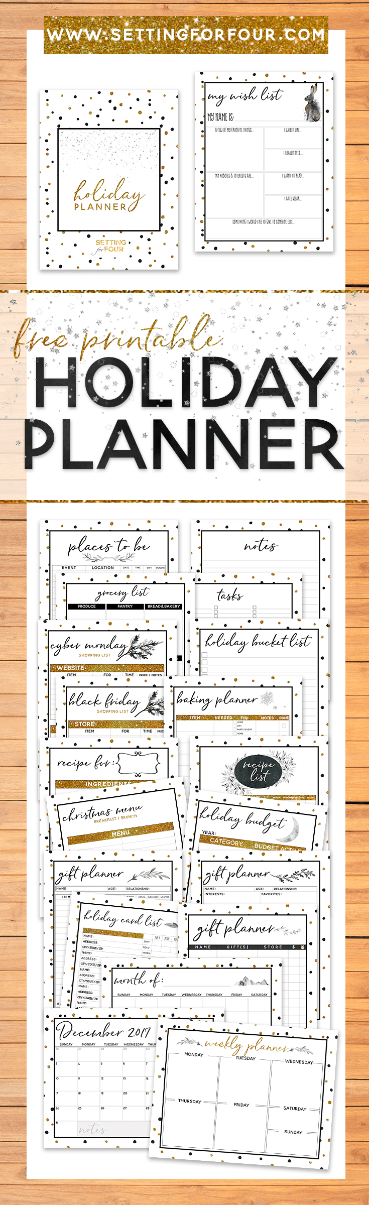 Take the stress out of the holidays, get organized and STAY SANE with this FREE Holiday Planner Pack that includes 27 Free Printable Pages to plan Christmas! You won't forget a thing this holiday and you'll love the CHIC gold, black and white sparkly design! Includes FREE printable checklists & tracking sheets for gift lists, menus, places to be and calendars too! #free #holiday #christmas #planner #printable #organization
