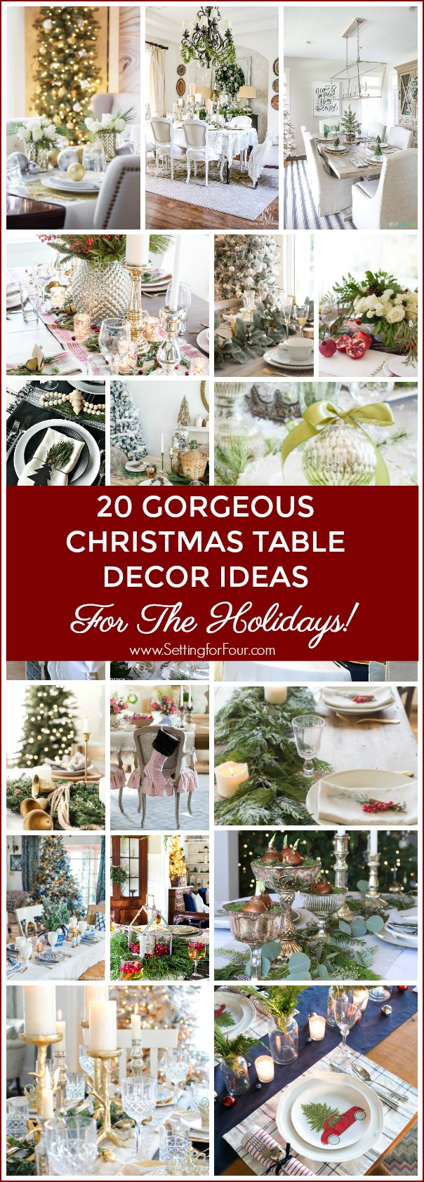 Add festive flair to your holiday table with these 20 Gorgeous Christmas Table Decor Ideas! See tablescapes with neutral, red, blue and metallic color palettes. Lots of table decorating tips and ideas using natural greenery, ornaments and flowers too! These are perfect table decorating ideas for winter weddings as well!