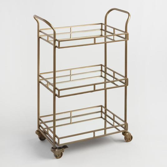 Loving this beautiful Gold 3-Tier Rolling Bar Cart!