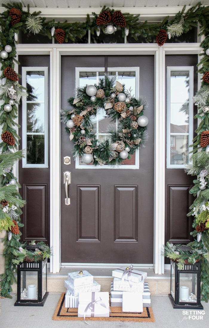 Welcome to my Glam Gold and White Christmas Home Tour! I'm sharing my Christmas front porch, foyer, living room and fireplace mantel today along with lots of holiday decorating ideas!  I used lots of white and gold colored decor, metallic finishes and glam textiles. You'll also see 30 Holiday Home Tours too! There is a ton of indoor and outdoor holiday decor inspiration here - don't miss it!