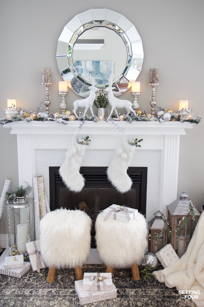 christmas mantel decor ideas see how i decorated my white and gold glam mantel for