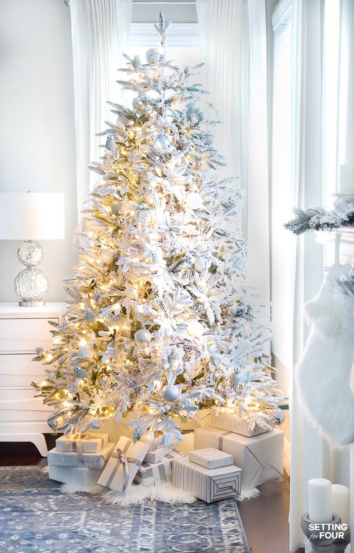 Flocked Christmas Tree Decor Ideas - white and gold glam style. #flockedchristmastree #christmasdecor #christmastree #holidaydecor #xmasdecor