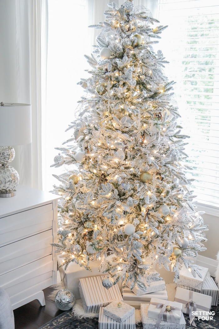 Inspiring Christmas Decorating Ideas: See my Flocked White Christmas Tree - White and Gold Glam Style! See 25 design bloggers tree in this amazing holiday blog tour!