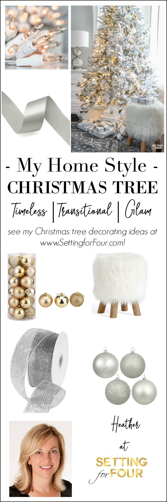 Looking for Christmas tree decorating inspiration? See my ELEGANT FLOCKED CHRISTMAS TREE - WHITE AND GOLD GLAM STYLE! I show you how I use mesh ribbon, beautiful white and gold christmas balls, icicle ornaments and sparkly owls to decorate a traditional christmas tree with a glam, timeless, transitional style.