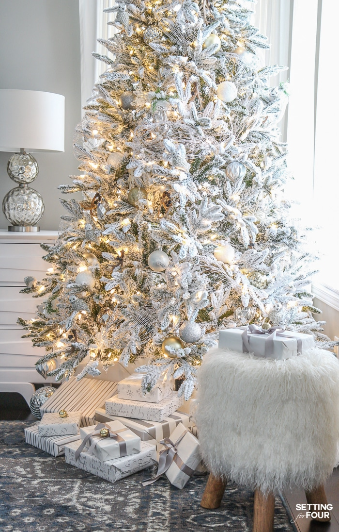 White Christmas Tree Design.Flocked Christmas Tree White And Gold Glam Style Setting