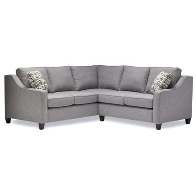 Beautiful sofa for the living room, playroom or media room!Gray Sectional Sofa: This looks so comfy and I love the gray color - perfect for families with kids and pets! It's a timeless style too! Host a crowd to watch the big game or relax with your latest read on this streamlined sectional, featuring grey upholstery and espresso-finished block feet.