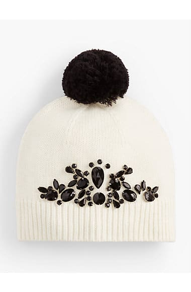 Jeweled Pom-Pom Hat. #fashion #women #hat #gift #giftidea #under50