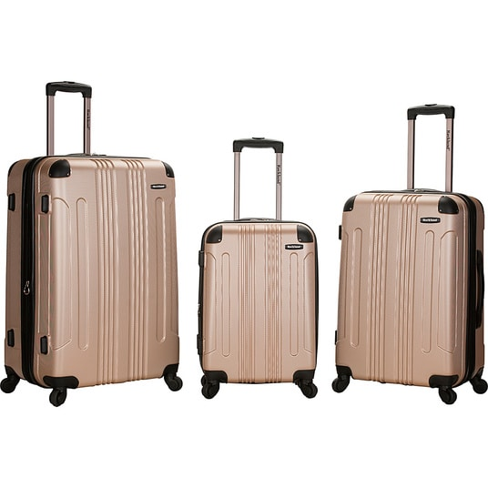 Rockland Luggage London 3-Piece Hardside Spinner Luggage Set Champagne: travel in style! Always find your luggage on the luggage carousel!