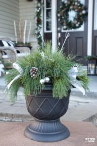Gorgeous Christmas DIY Decor Idea! In just a few minutes you can put together this Quick and Easy Outdoor Christmas Planter for your front door area or porch! This holiday decorating idea is so easy - even if you aren't a decorator!
