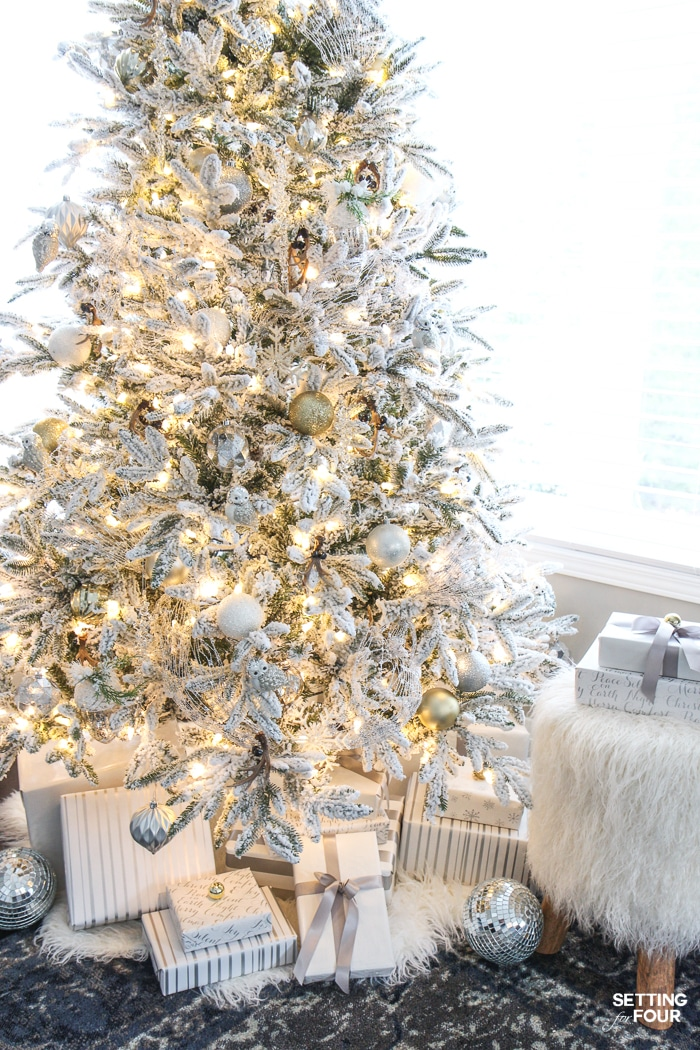 Flocked Christmas Tree - White and Gold Glam Style