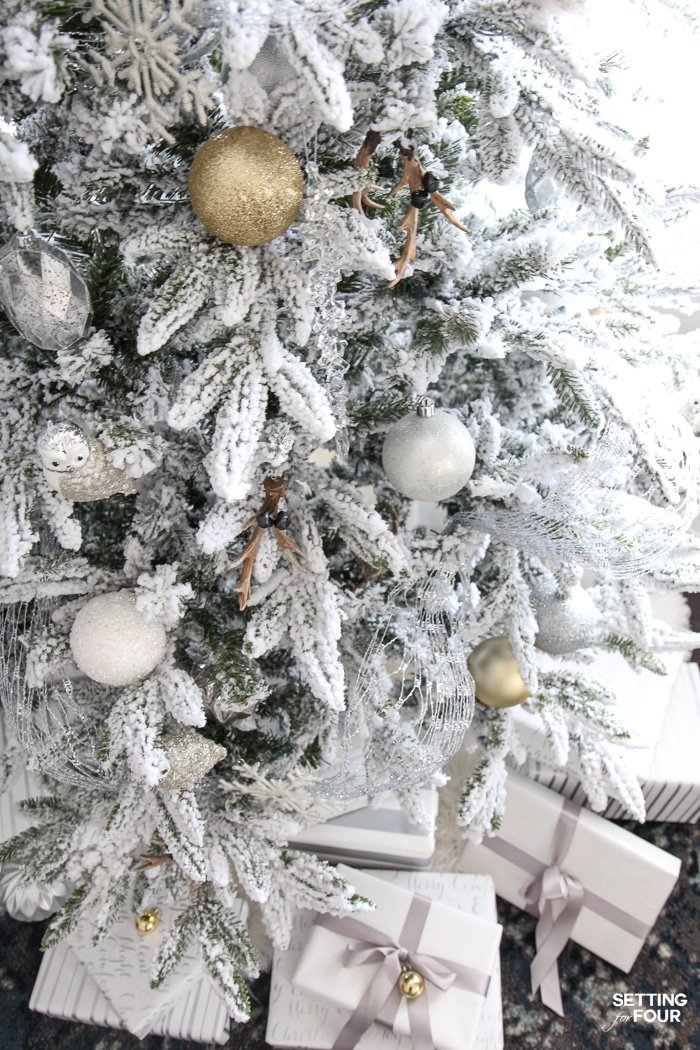 inspiring christmas tree decorating ideas see my flocked christmas tree white and gold glam