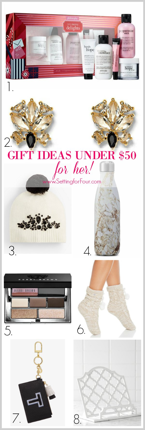 Gift giving doesn't have to break the bank! Take a look at these AMAZING gift ideas under 50 $ that will be sure to please her! Fashion, Beauty and Home Decor Ideas that you'll love to give! For Mom, Wife, Sister, Aunt, Grandmother, Niece, Girlfriend, Teacher, Neighbor.