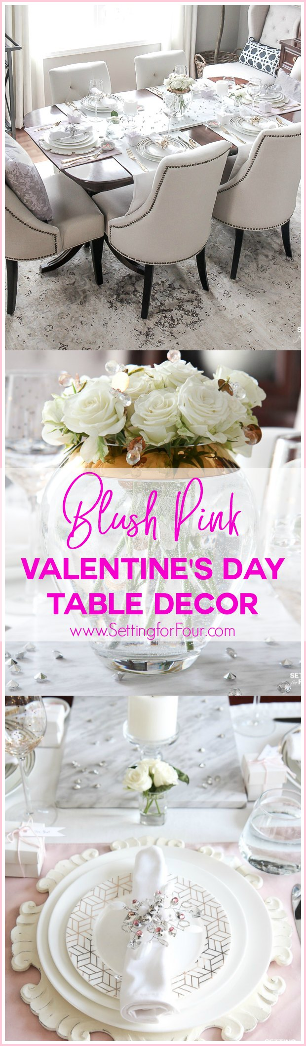 Blush Pink Valentines Day Table Decorations Setting For Four