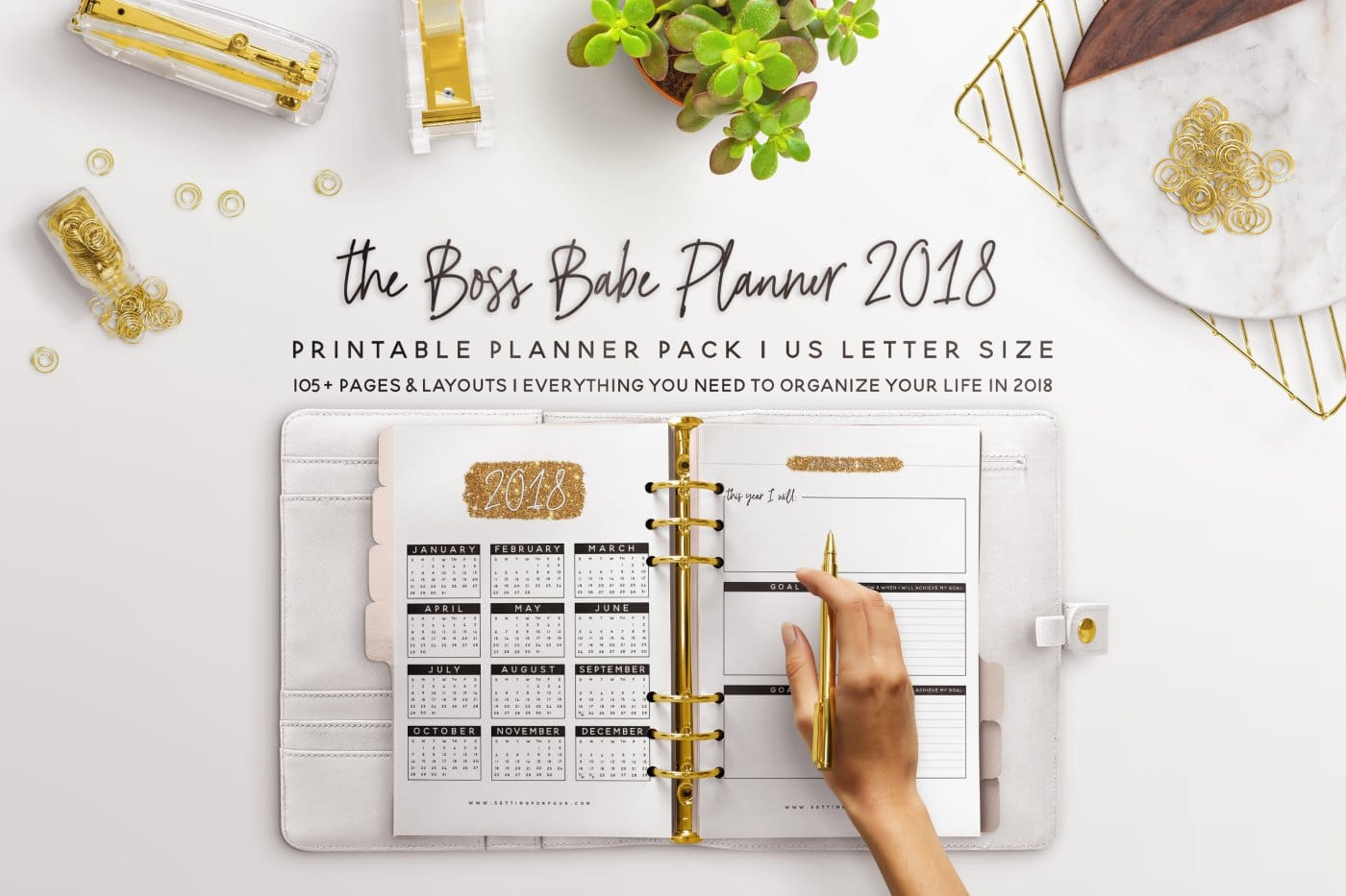 Take the stress out of your crazy schedule, get organized and STAY SANE with this Boss Babe Printable Planner Pack that includes 106 Printable Pages to plan your ENTIRE YEAR! You'll love the CHIC gold, white and black sparkly design! Includes printable checklists, tracking sheets, to do lists, places to be and calendars too! #planner #printable #organization #2018
