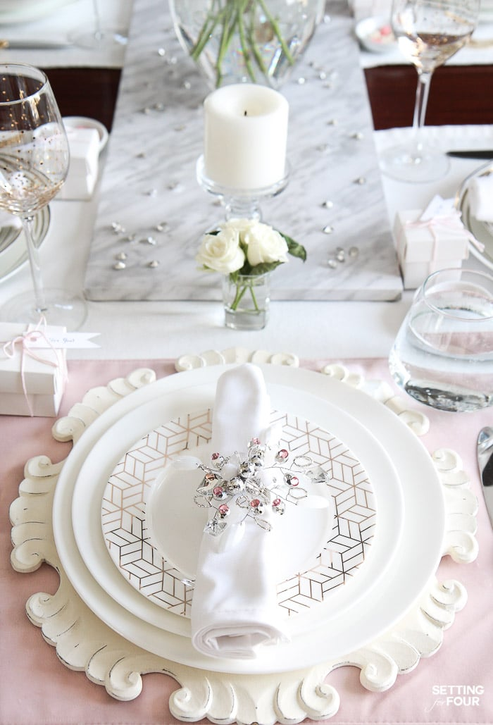 Blush Pink Valentines Day Table Decor Ideas DIY Home Decor to celebrate those you cherish & Blush Pink Valentines Day Table Decorations - Setting for Four