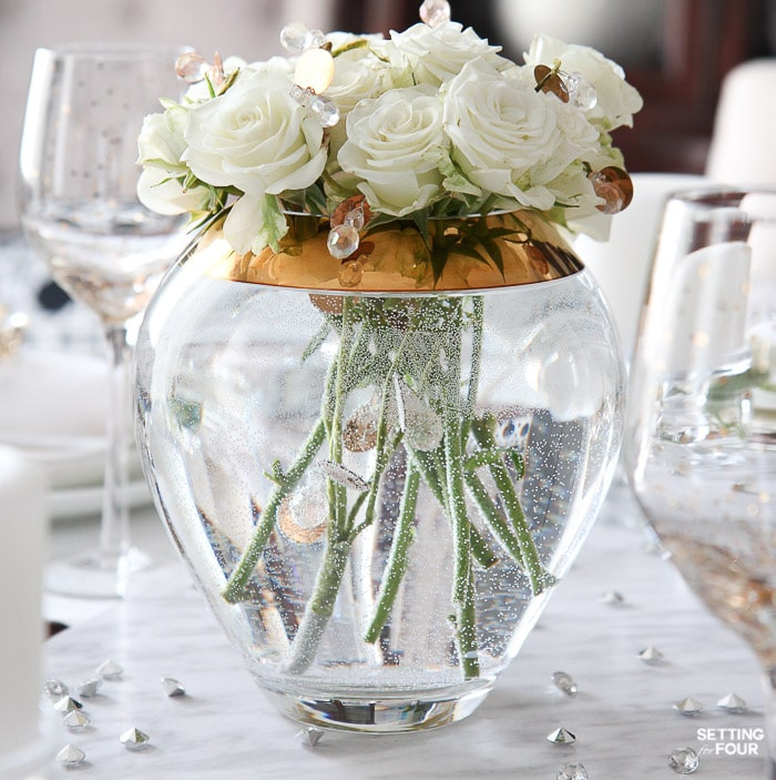 DIY Rose and sparkly gem centerpiece idea
