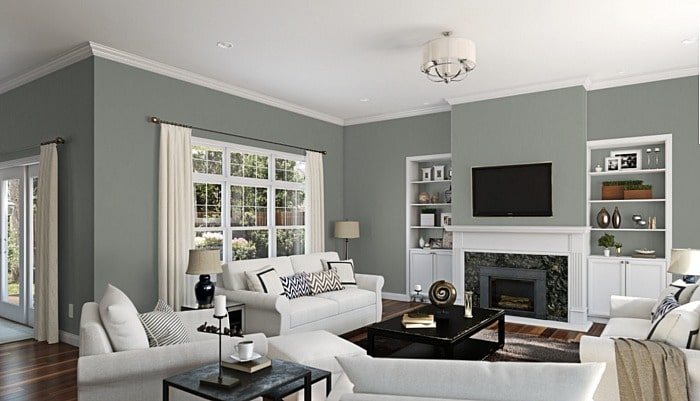 Paint Color Inspiration: Sherwin Williams Acacia Green for living room walls.
