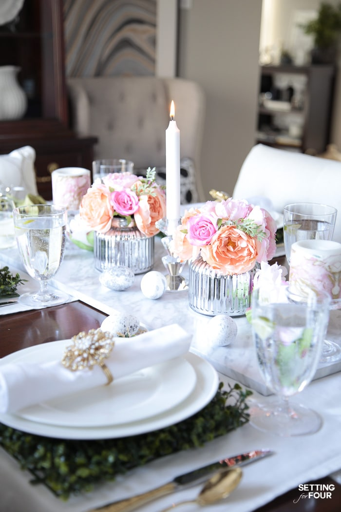 Faux floral centerpieces with peonies and roses. DIY home decor and Easter dinner entertaining ideas.