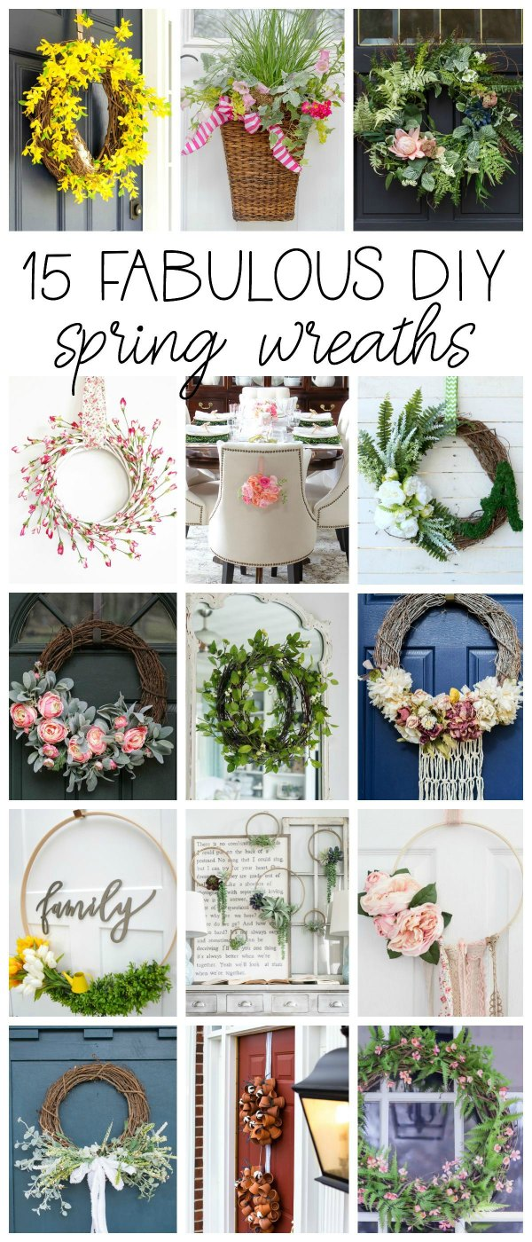 15 Fabulous DIY Spring Wreaths for your home!. Front Door, kitchen, entryway, dining chairs.