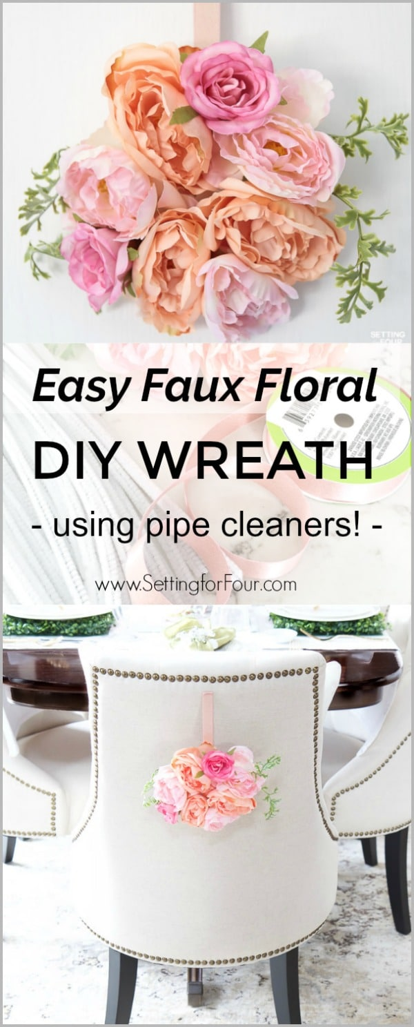 Easy Faux Floral Wreath - DIY Tutorial using pipe cleaners