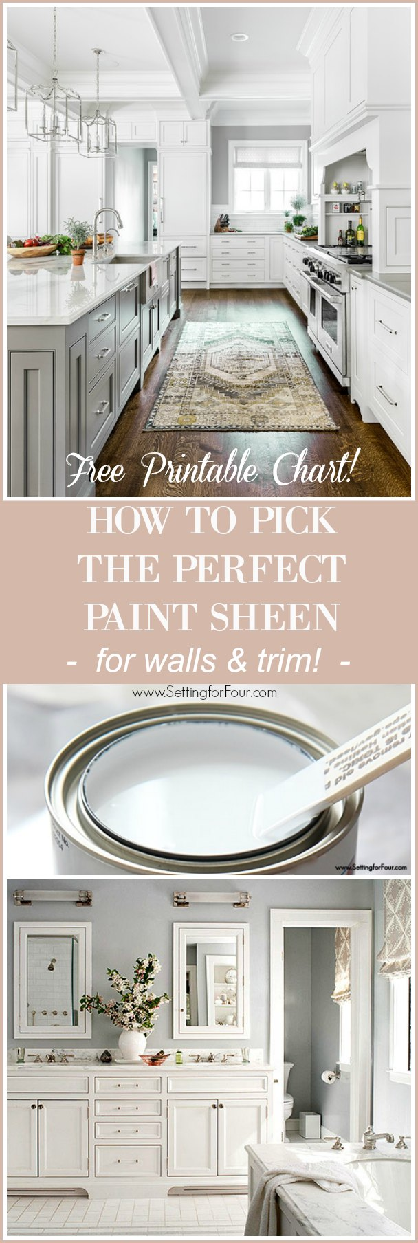 Helpful DIY Home Decor and Paint Tips - How To Pick The Perfect Paint Sheen for Walls, Cabinets and Trim. Free Printable Chart!