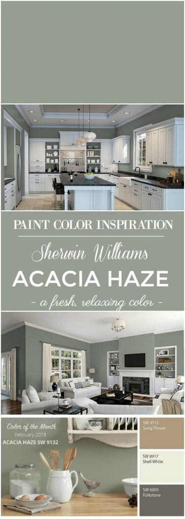 Color Inspiration - Sherwin Williams Acacia Haze Paint Color! This beautiful green paint color is the perfect color choice for the walls of a bedroom, living room, kitchen or for exterior siding and shutters of a home! This neutral paint color is fresh and relaxing!