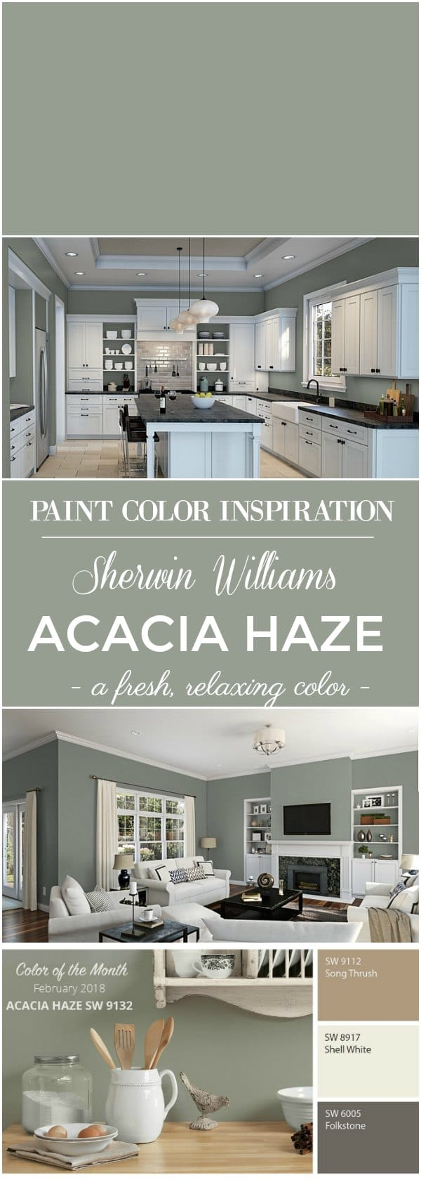Paint Color Inspiration: Sherwin Williams Acacia Green for walls.
