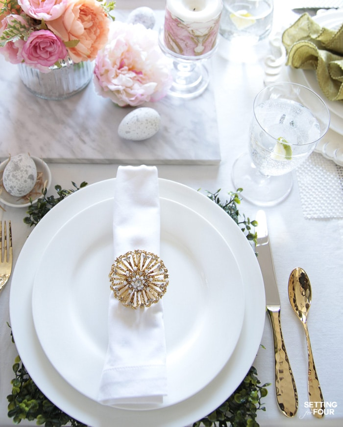Easter table ideas: dinnerware, centerpiece ideas, cutlery and chargers.