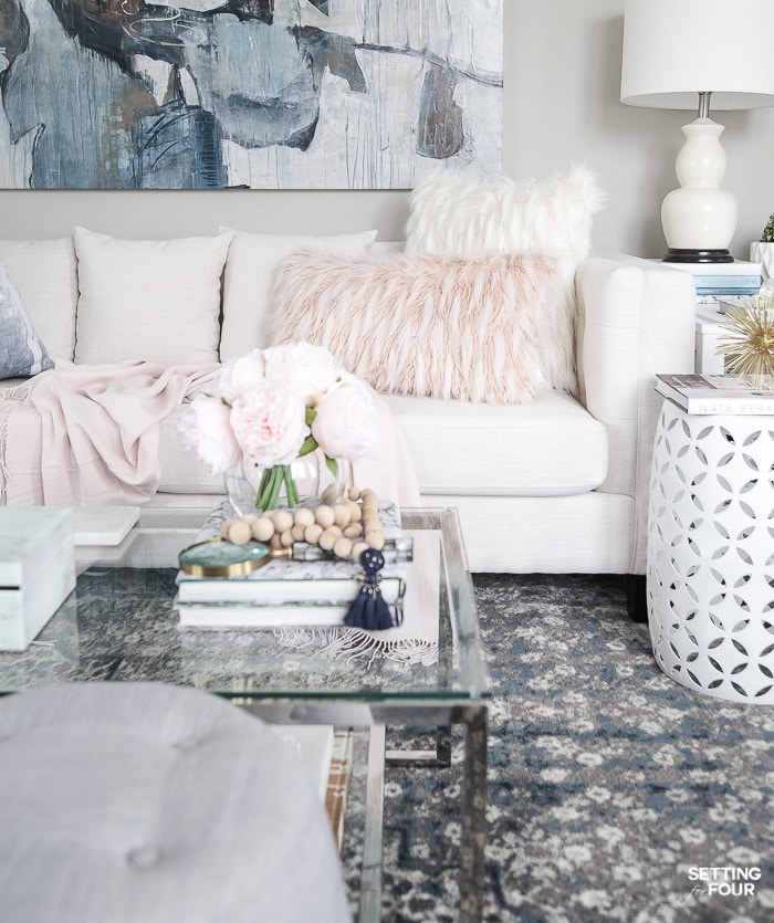 Blush and blue living room decorating ideas.