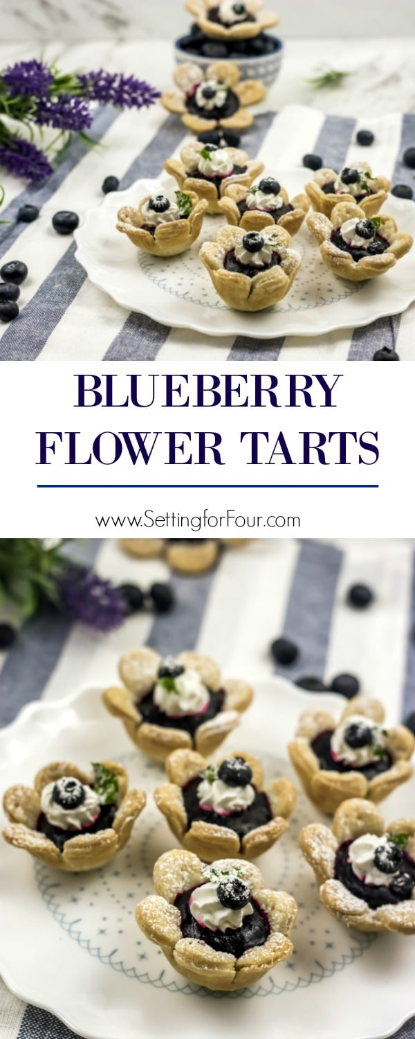 Delicious Blueberry Flower Tarts dessert idea with a flower shaped crust