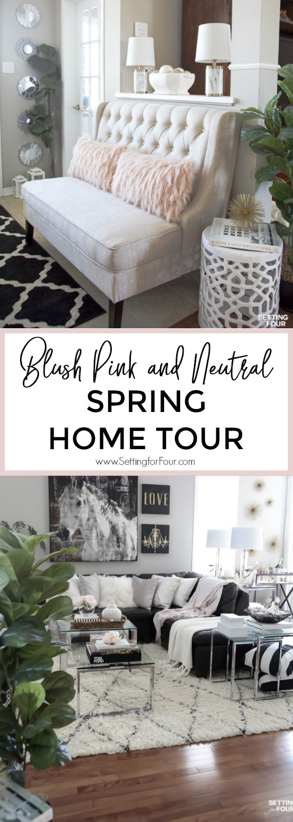 See my blush pink and neutral decor Spring home tour and discover lots of new Spring interior decor ideas for your home! I've added lots of blush pink colors, floral arrangements to my neutral decor - see them all! You'll also be able to peak into 30 talented design blogger's Spring home tours too - decor inspiration for every room in your house! #homedecor #Spring #hometour #entryway #familyroom #diningroom