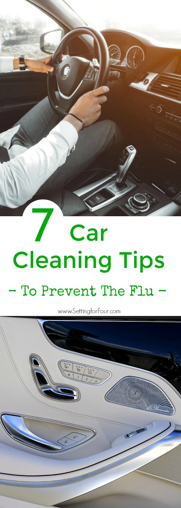 Discover 7 quick and easy car cleaning tips to prevent the flu and other illnesses! One place you may be missing to clean during flu season is your car! Your car is a germ factory - clean the places germs are hiding so you and your kids don't get sick!
