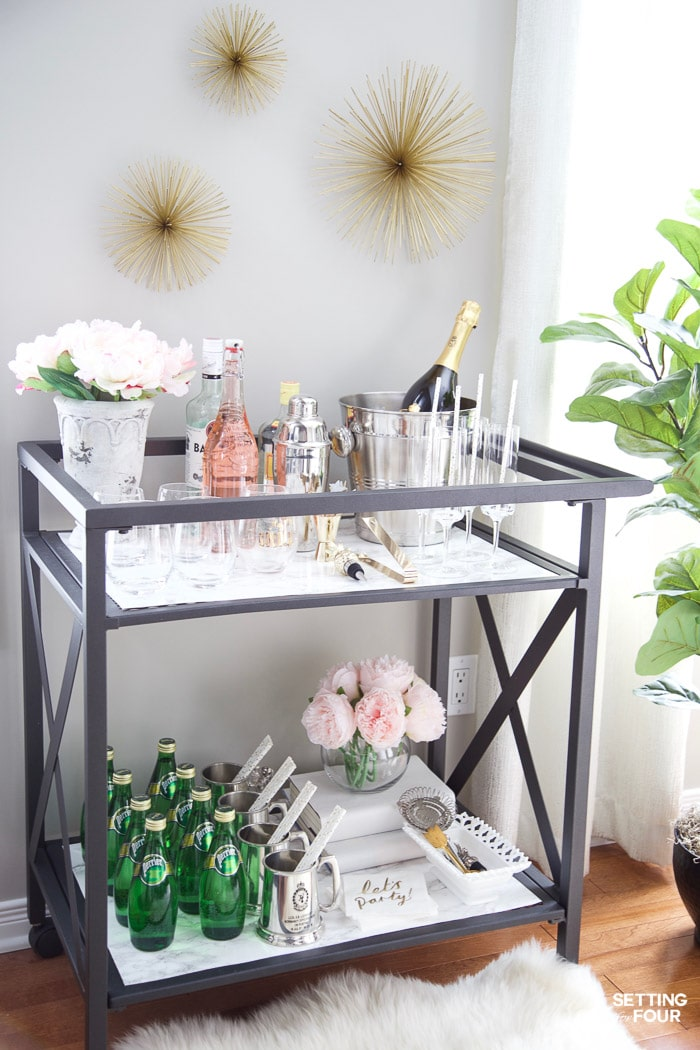 Diy Marble Bar Cart Top And Shelf Setting For Four
